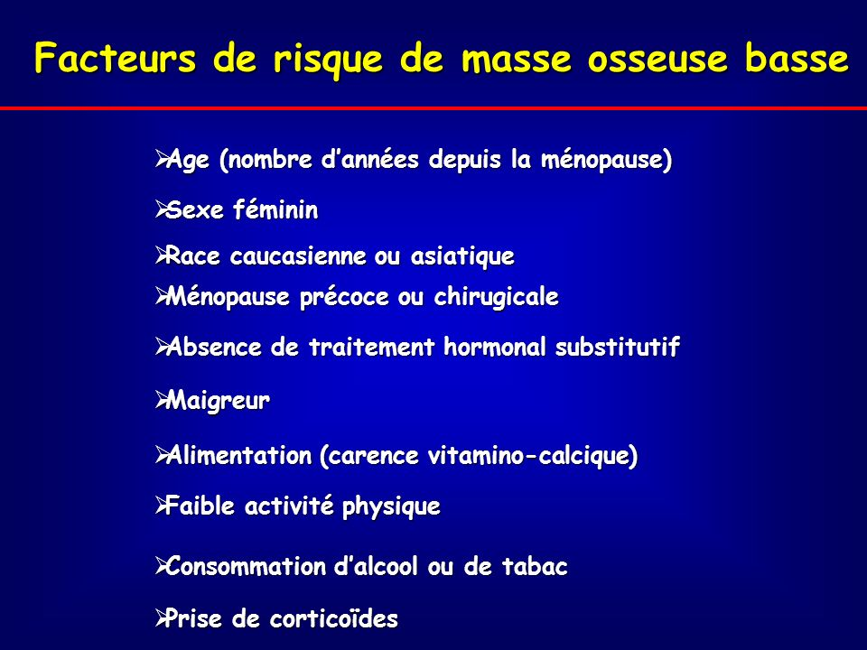 Facteurs de risque de masse osseuse basse