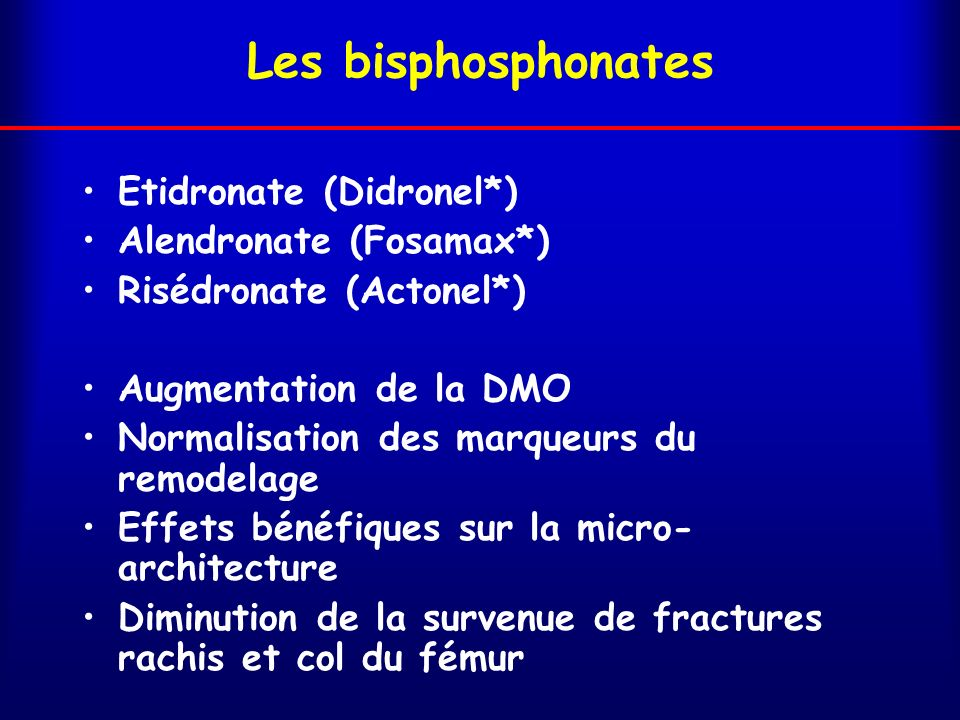 Les bisphosphonates Etidronate (Didronel*) Alendronate (Fosamax*)