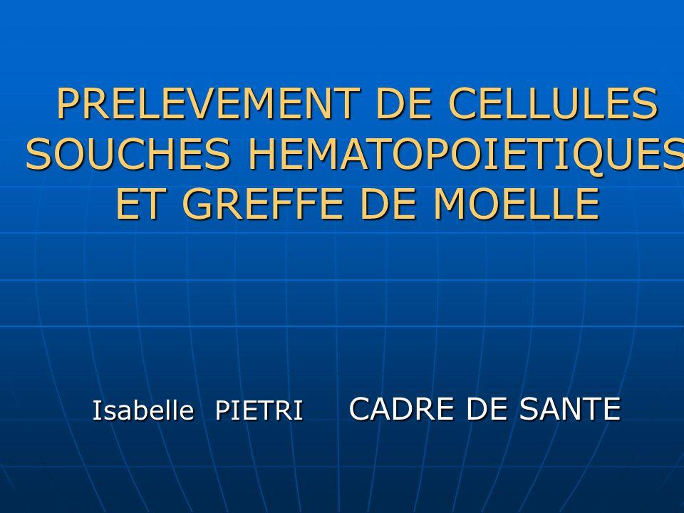 PRELEVEMENT DE CELLULES SOUCHES HEMATOPOIETIQUES ET GREFFE DE MOELLE