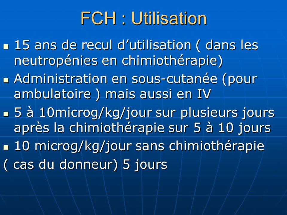 FCH : Utilisation15 ans de recul d'utilisation ( dans les neutropénies en chimiothérapie)