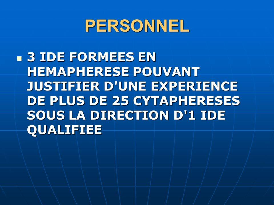PERSONNEL3 IDE FORMEES EN HEMAPHERESE POUVANT JUSTIFIER D UNE EXPERIENCE DE PLUS DE 25 CYTAPHERESES SOUS LA DIRECTION D 1 IDE QUALIFIEE.
