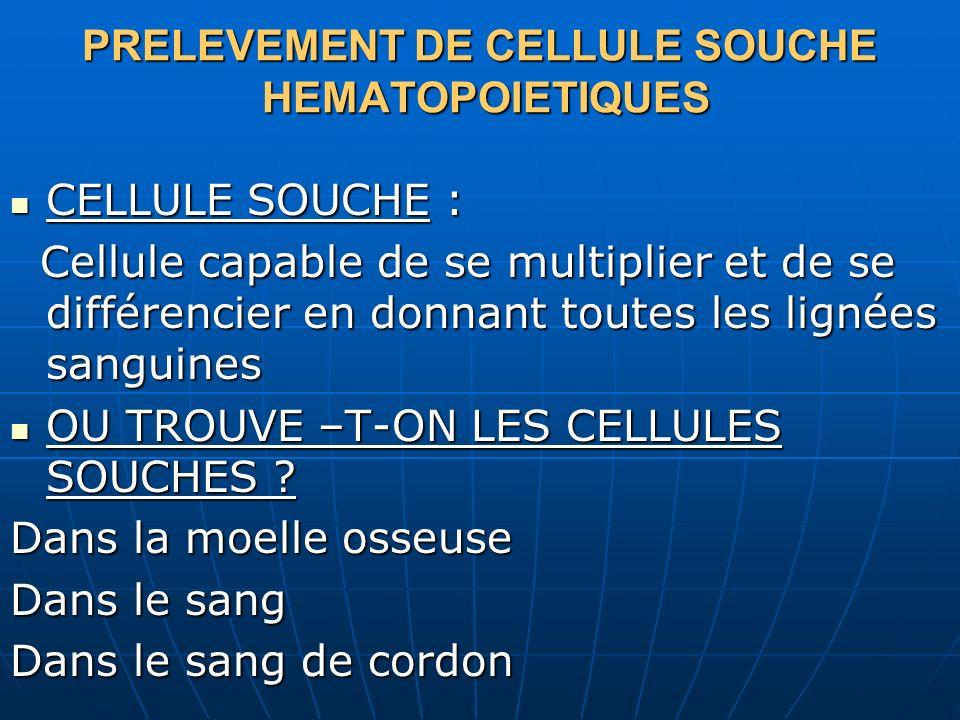 PRELEVEMENT DE CELLULE SOUCHE HEMATOPOIETIQUES
