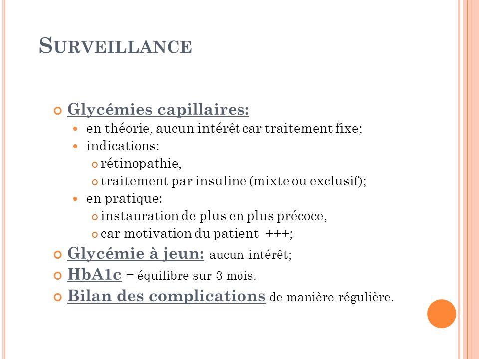 Surveillance Glycémies capillaires: Glycémie à jeun: aucun intérêt;