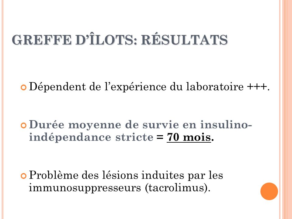 GREFFE D'ÎLOTS: RÉSULTATS