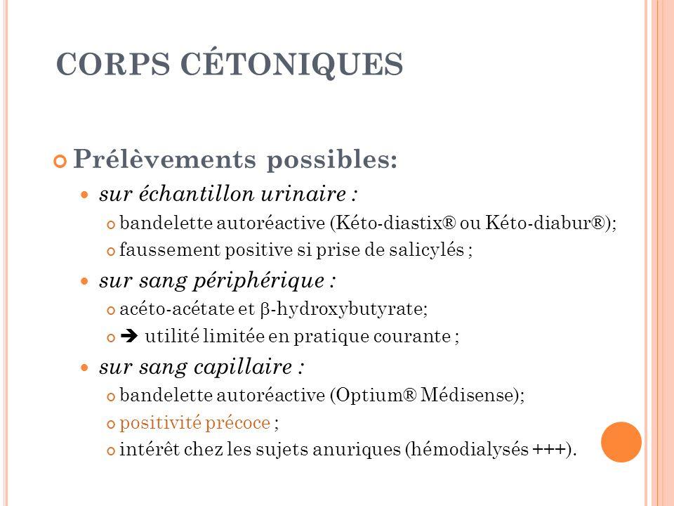 CORPS CÉTONIQUES Prélèvements possibles: sur échantillon urinaire :