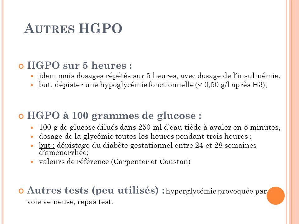 Autres HGPO HGPO sur 5 heures : HGPO à 100 grammes de glucose :