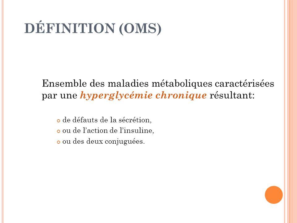 DÉFINITION (OMS) Ensemble des maladies métaboliques caractérisées par une hyperglycémie chronique résultant: