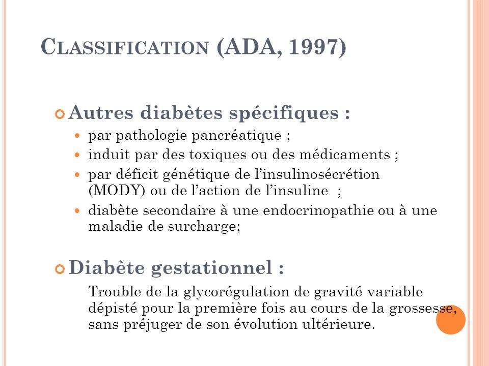 Classification (ADA, 1997) Autres diabètes spécifiques :