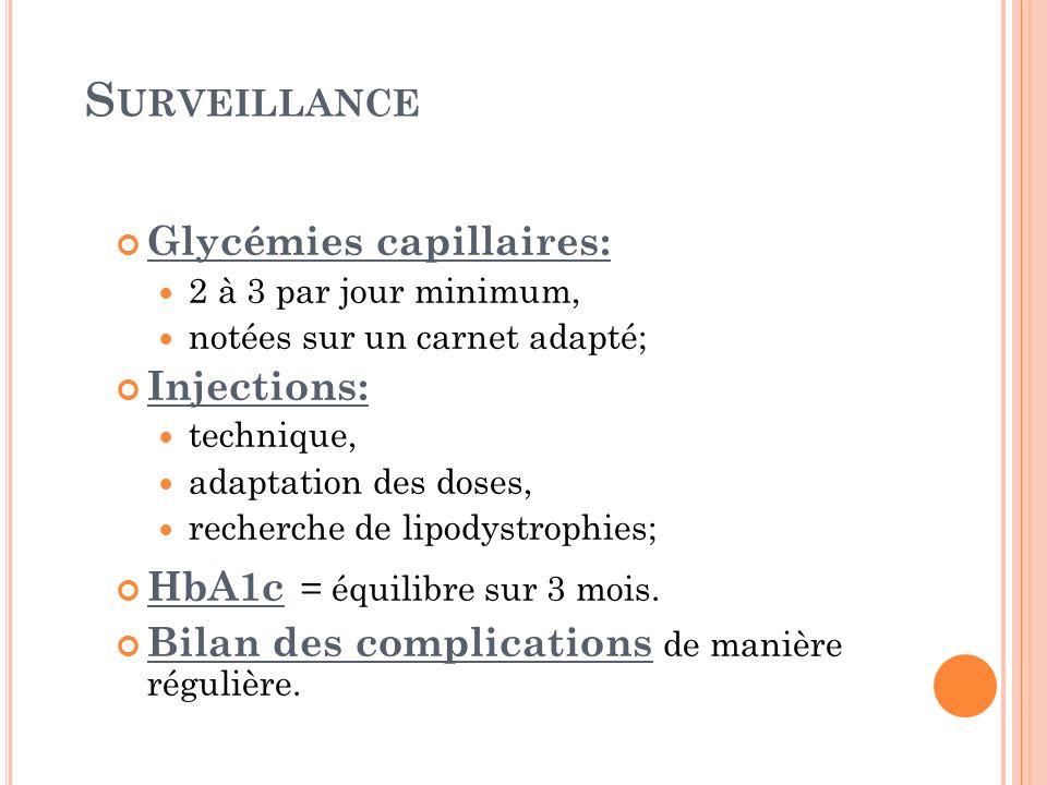 Surveillance Glycémies capillaires: Injections: