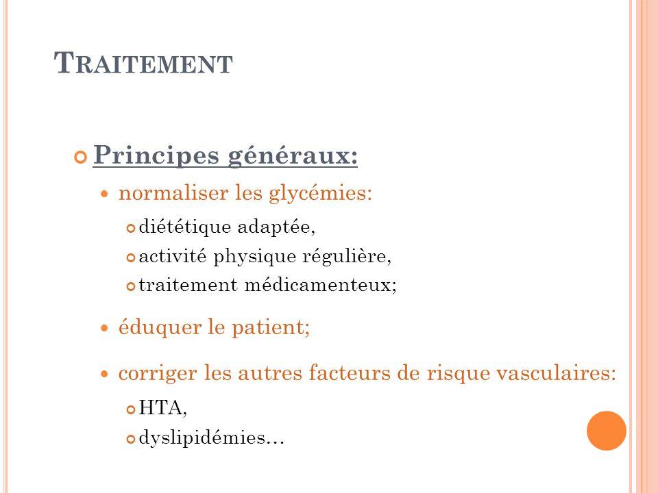 Traitement Principes généraux: normaliser les glycémies: