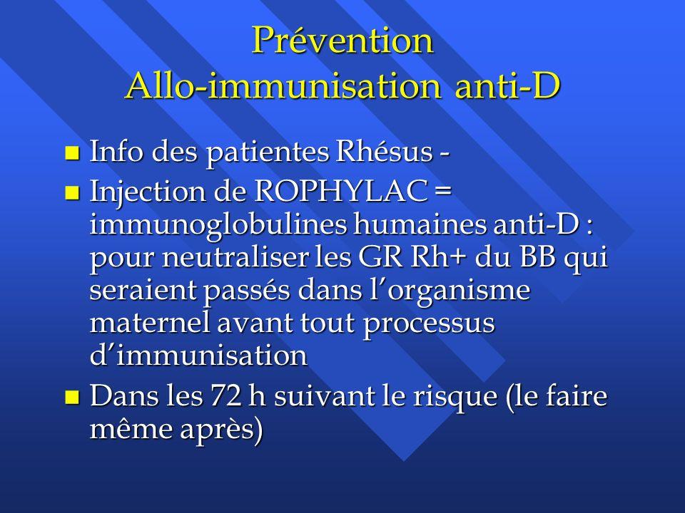 Prévention Allo-immunisation anti-D