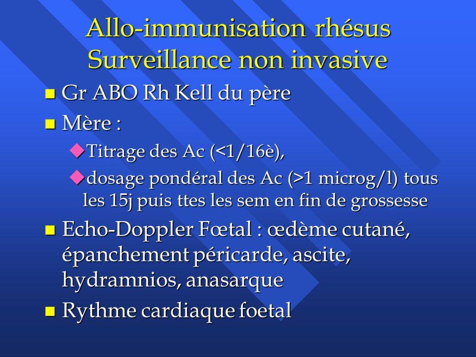 Allo-immunisation rhésus Surveillance non invasive