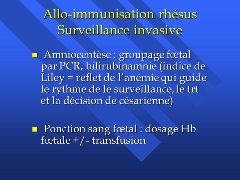Allo-immunisation rhésus Surveillance invasive