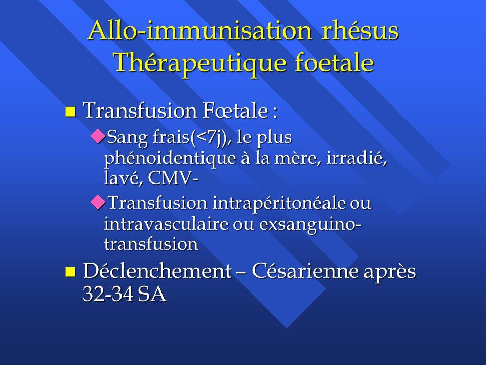 Allo-immunisation rhésus Thérapeutique foetale
