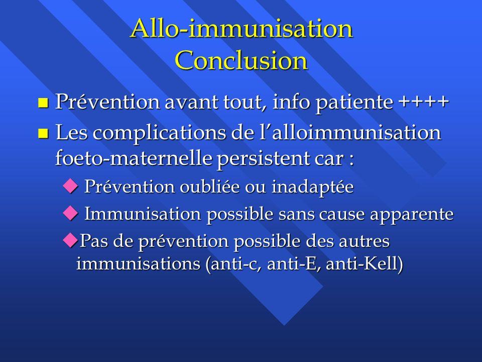 Allo-immunisation Conclusion