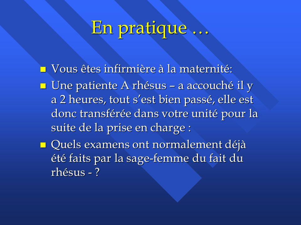 En pratique … Vous êtes infirmière à la maternité: