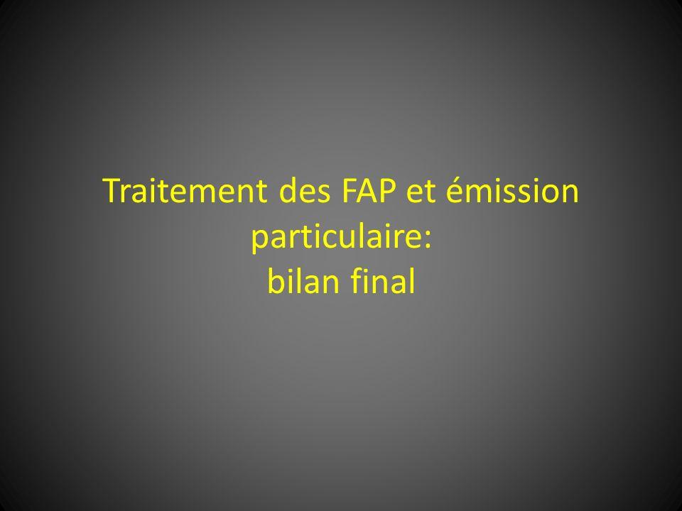 Traitement des FAP et émission particulaire: bilan final