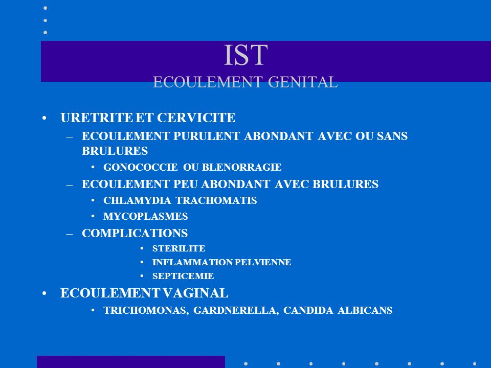 IST ECOULEMENT GENITAL