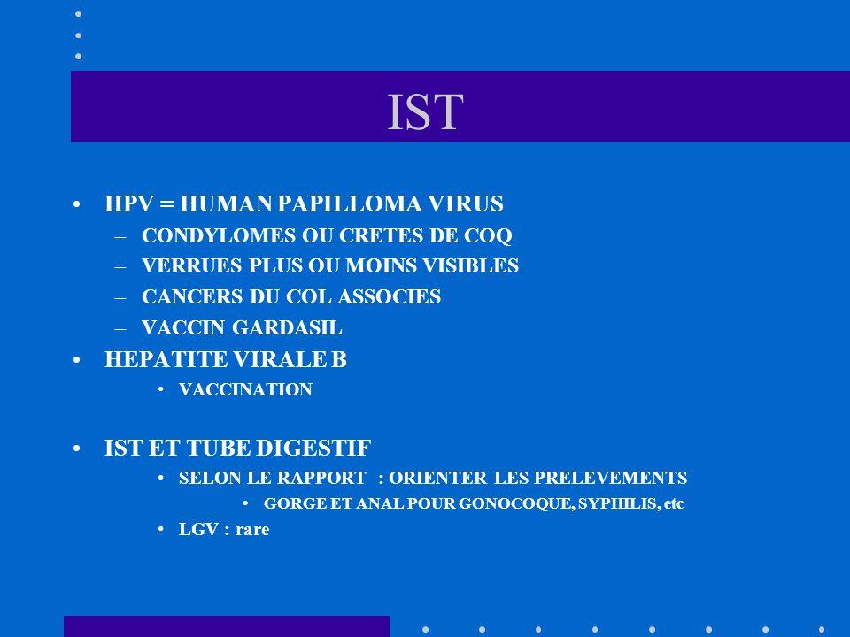 IST HPV = HUMAN PAPILLOMA VIRUS HEPATITE VIRALE B IST ET TUBE DIGESTIF