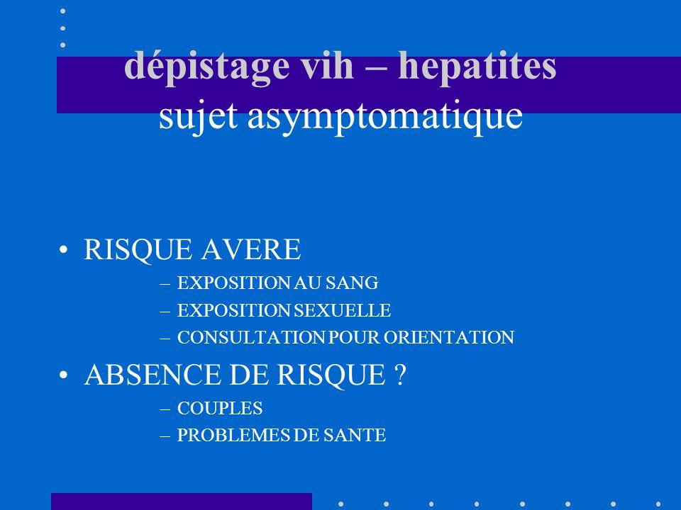 dépistage vih – hepatites sujet asymptomatique