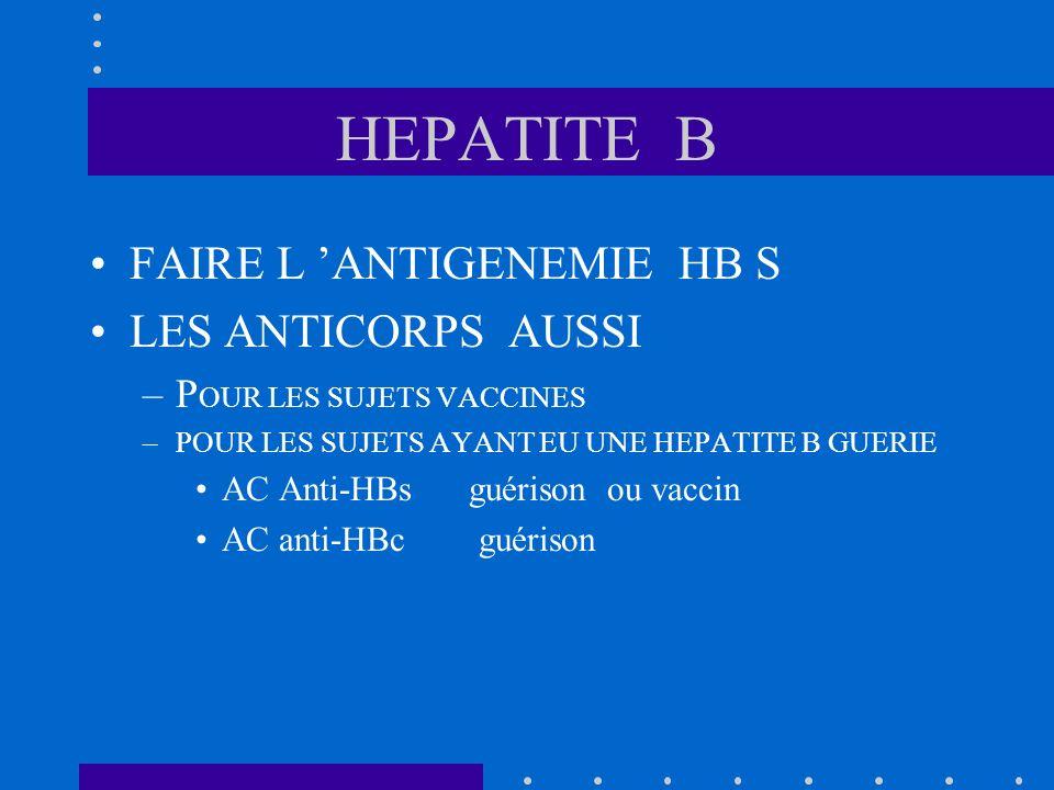 HEPATITE B FAIRE L 'ANTIGENEMIE HB S LES ANTICORPS AUSSI