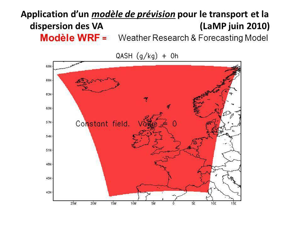 Application d'un modèle de prévision pour le transport et la dispersion des VA (LaMP juin 2010)