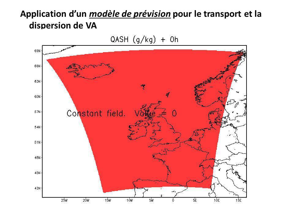 Application d'un modèle de prévision pour le transport et la dispersion de VA