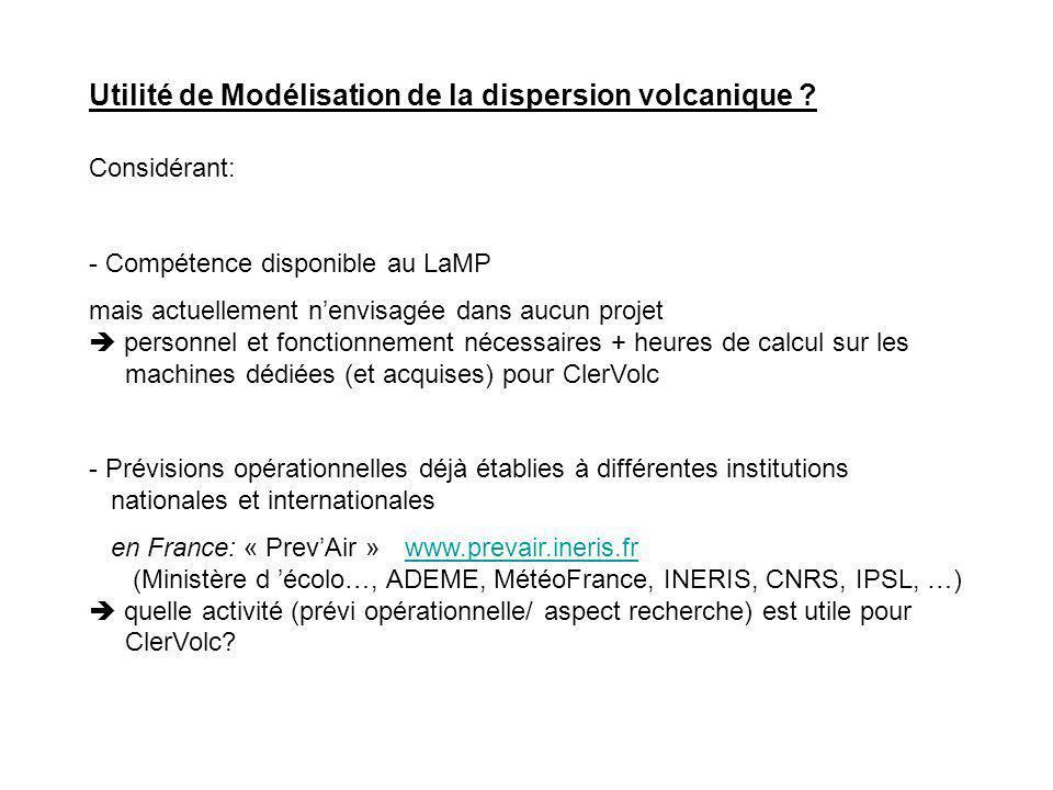 Utilité de Modélisation de la dispersion volcanique