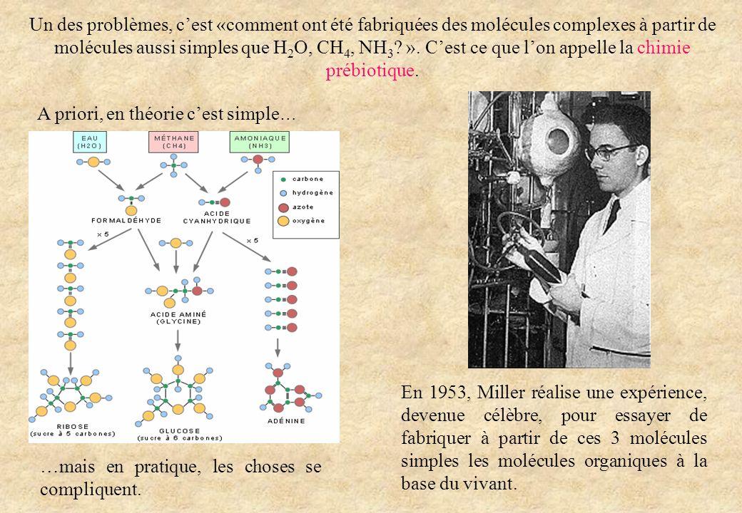 Un des problèmes, c'est «comment ont été fabriquées des molécules complexes à partir de molécules aussi simples que H2O, CH4, NH3 ». C'est ce que l'on appelle la chimie prébiotique.
