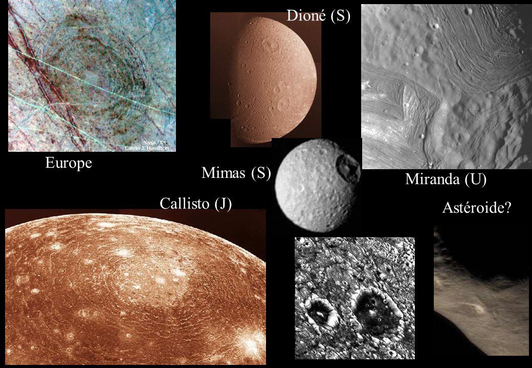 Dioné (S) Europe Mimas (S) Miranda (U) Callisto (J) Astéroide