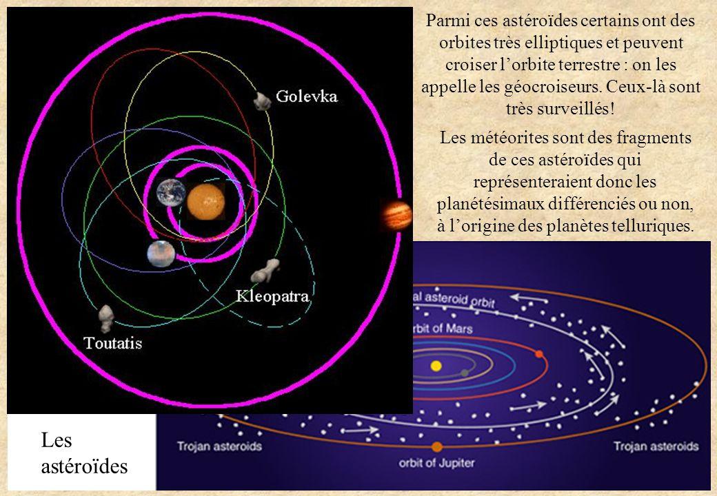 Parmi ces astéroïdes certains ont des orbites très elliptiques et peuvent croiser l'orbite terrestre : on les appelle les géocroiseurs. Ceux-là sont très surveillés!