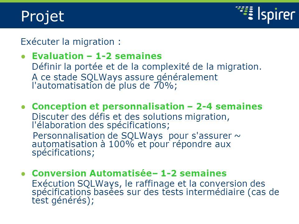 Projet Exécuter la migration : Evaluation – 1-2 semaines