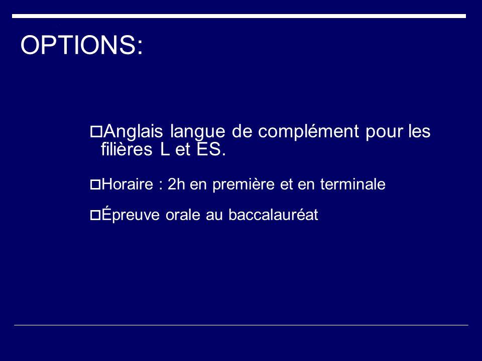 OPTIONS: Anglais langue de complément pour les filières L et ES.