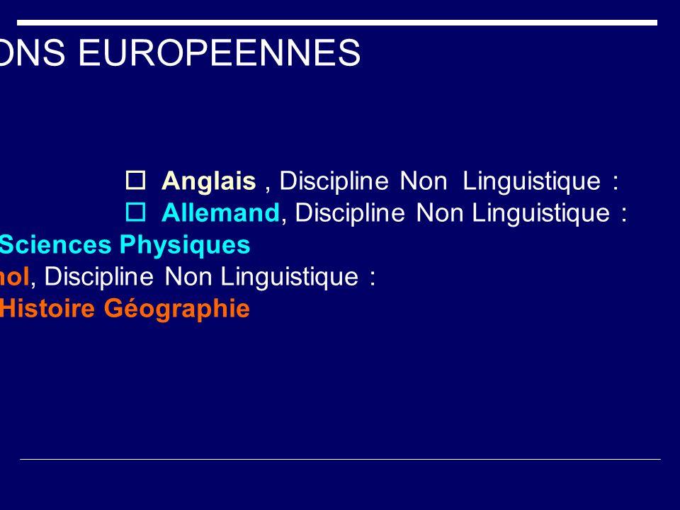  Espagnol, Discipline Non Linguistique :