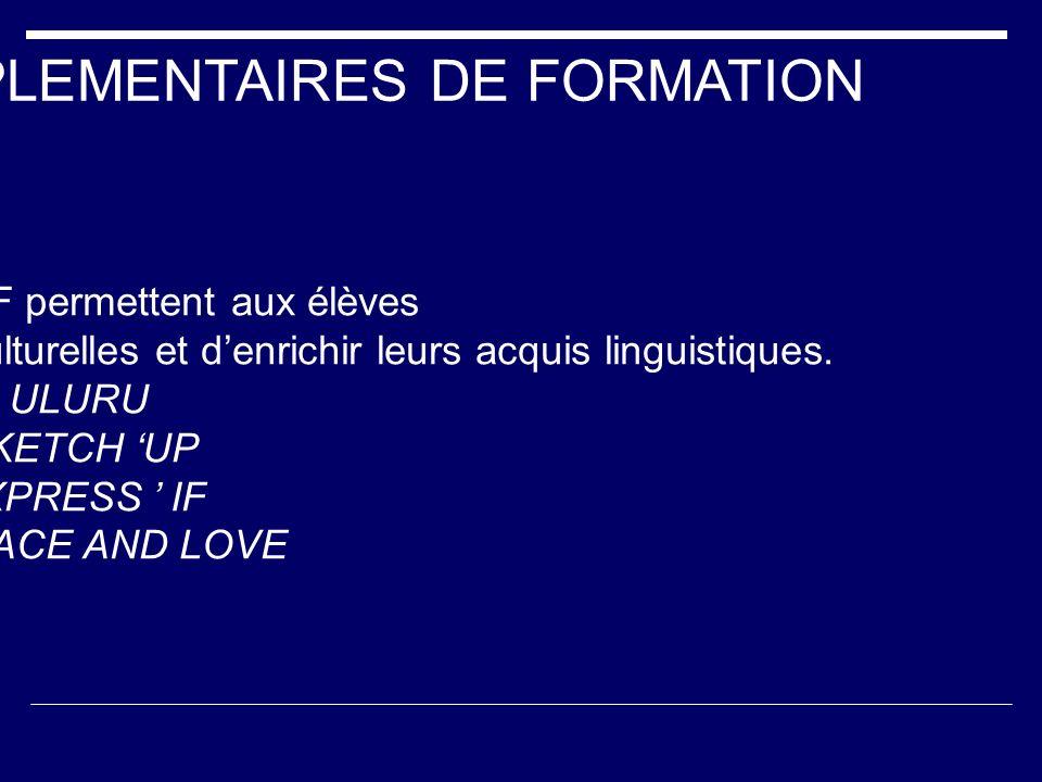 ACTIVITES COMPLEMENTAIRES DE FORMATION