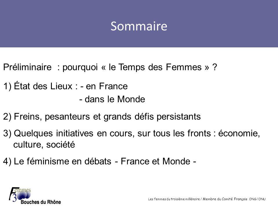 Sommaire Préliminaire : pourquoi « le Temps des Femmes »