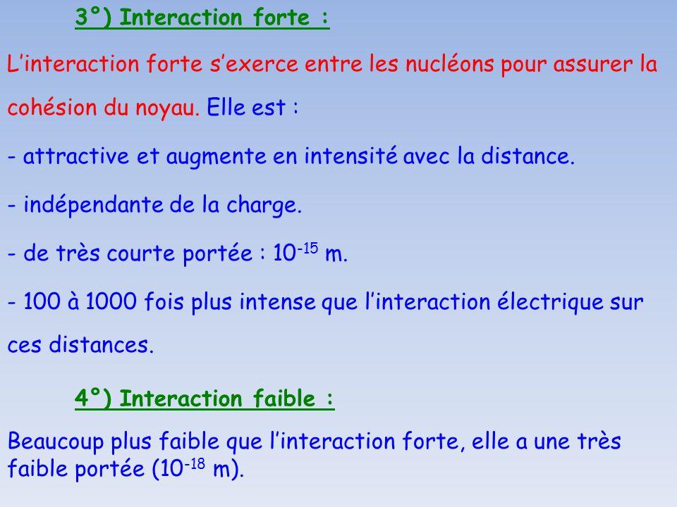 3°) Interaction forte :L'interaction forte s'exerce entre les nucléons pour assurer la cohésion du noyau. Elle est :