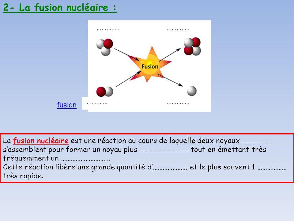 2- La fusion nucléaire : fusion