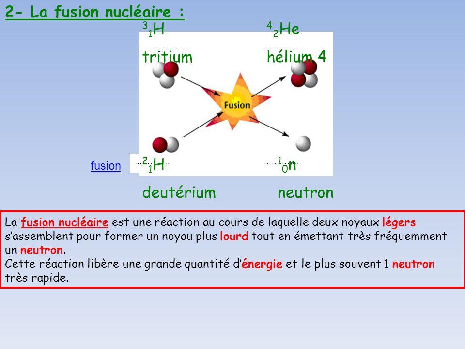 2- La fusion nucléaire : 31H tritium 42He hélium 4 21H deutérium 10n