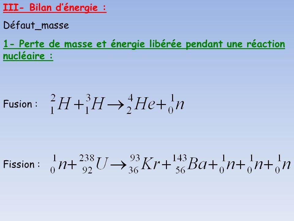 III- Bilan d'énergie : Défaut_masse. 1- Perte de masse et énergie libérée pendant une réaction nucléaire :