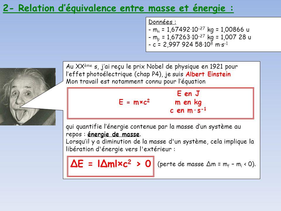 2- Relation d'équivalence entre masse et énergie :