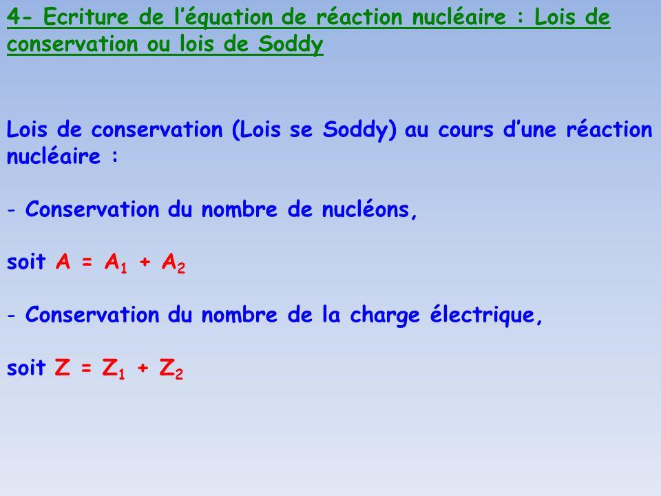 4- Ecriture de l'équation de réaction nucléaire : Lois de conservation ou lois de Soddy