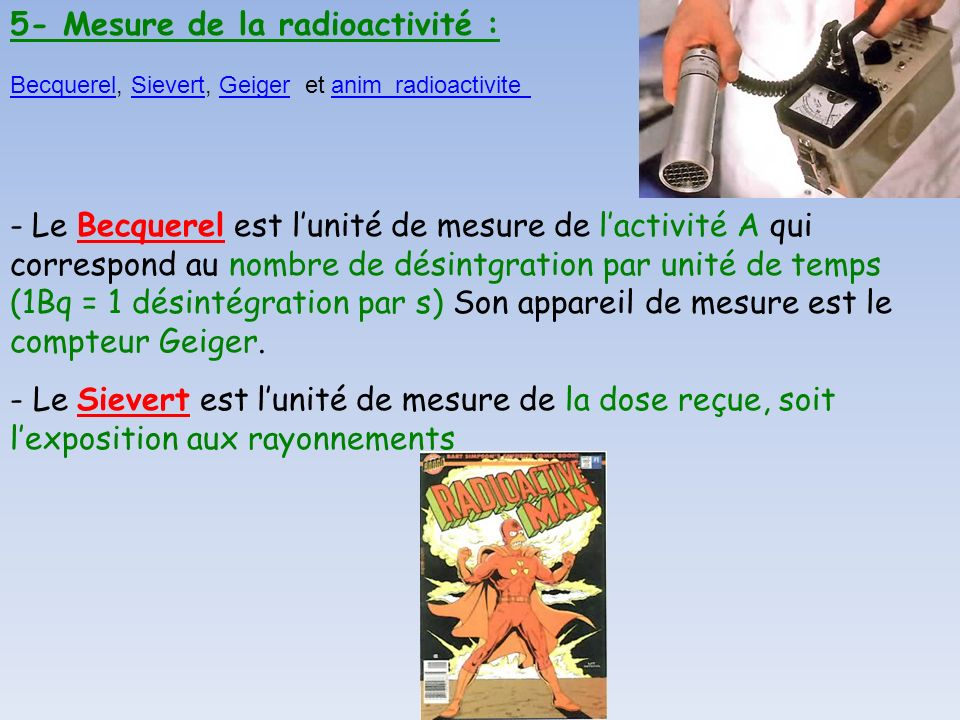 5- Mesure de la radioactivité :