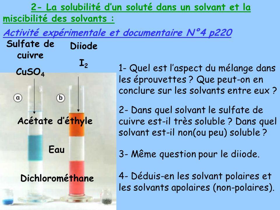 2- La solubilité d'un soluté dans un solvant et la miscibilité des solvants :