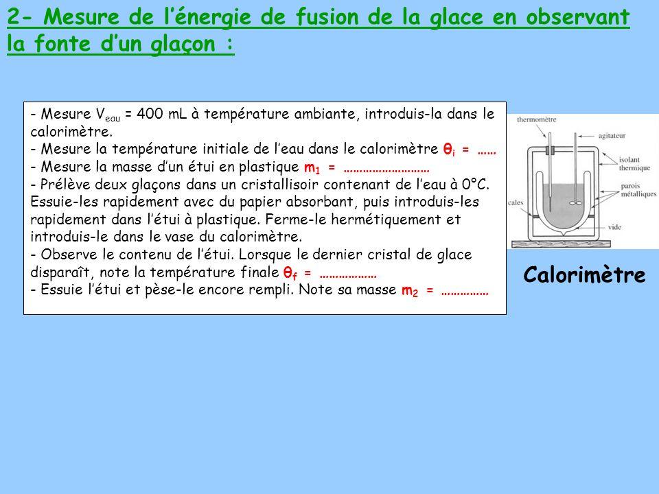 2- Mesure de l'énergie de fusion de la glace en observant la fonte d'un glaçon :