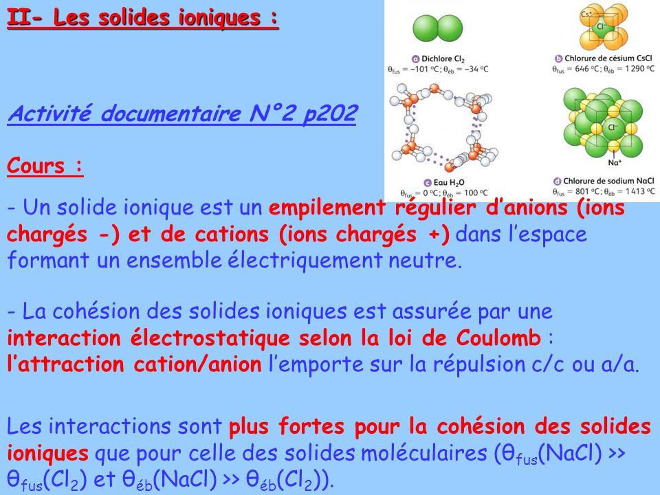 II- Les solides ioniques :