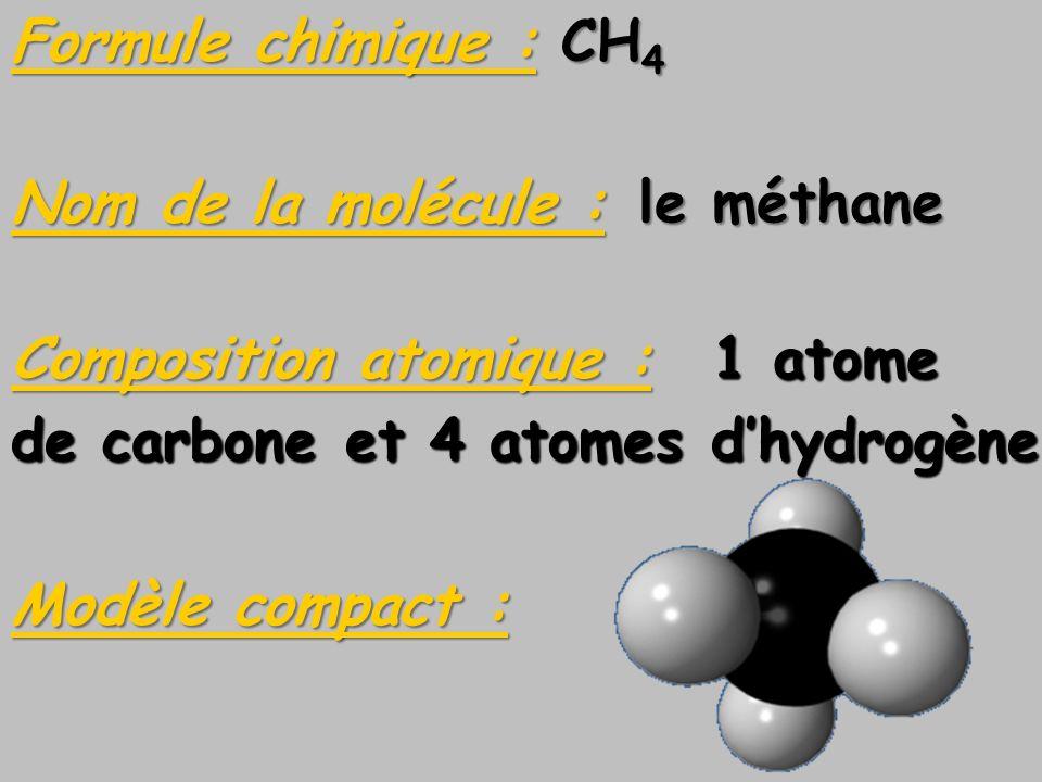 Formule chimique : CH4 Nom de la molécule : le méthane. Composition atomique : 1 atome. de carbone et 4 atomes d'hydrogène.