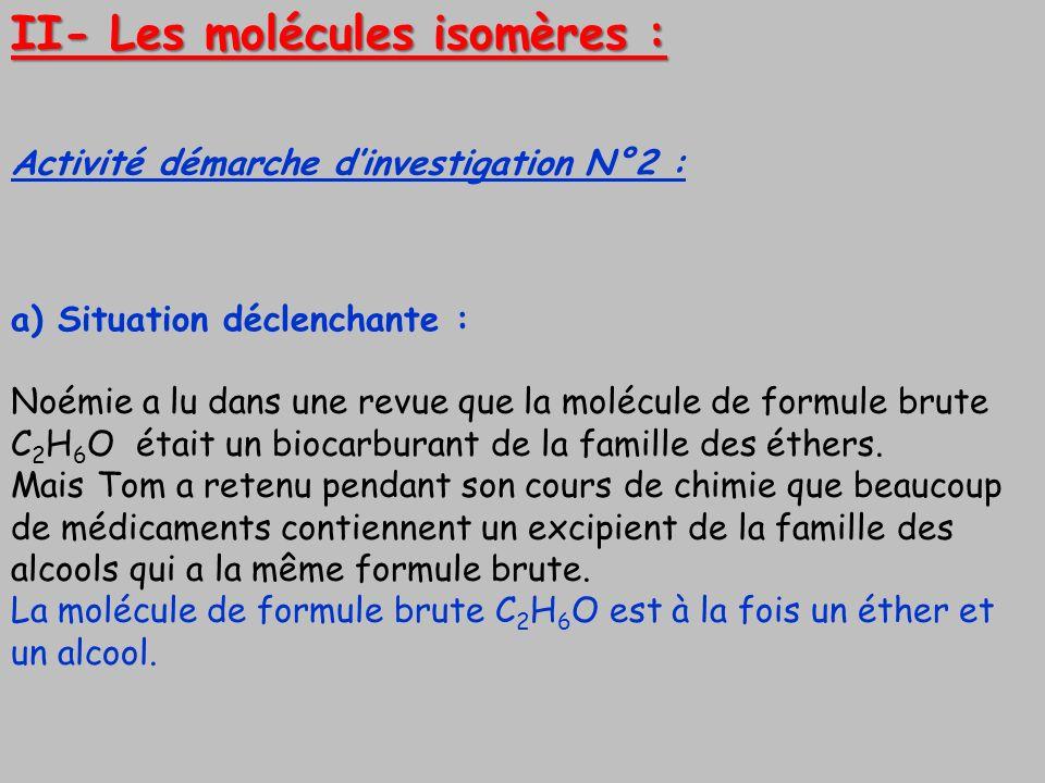 II- Les molécules isomères :