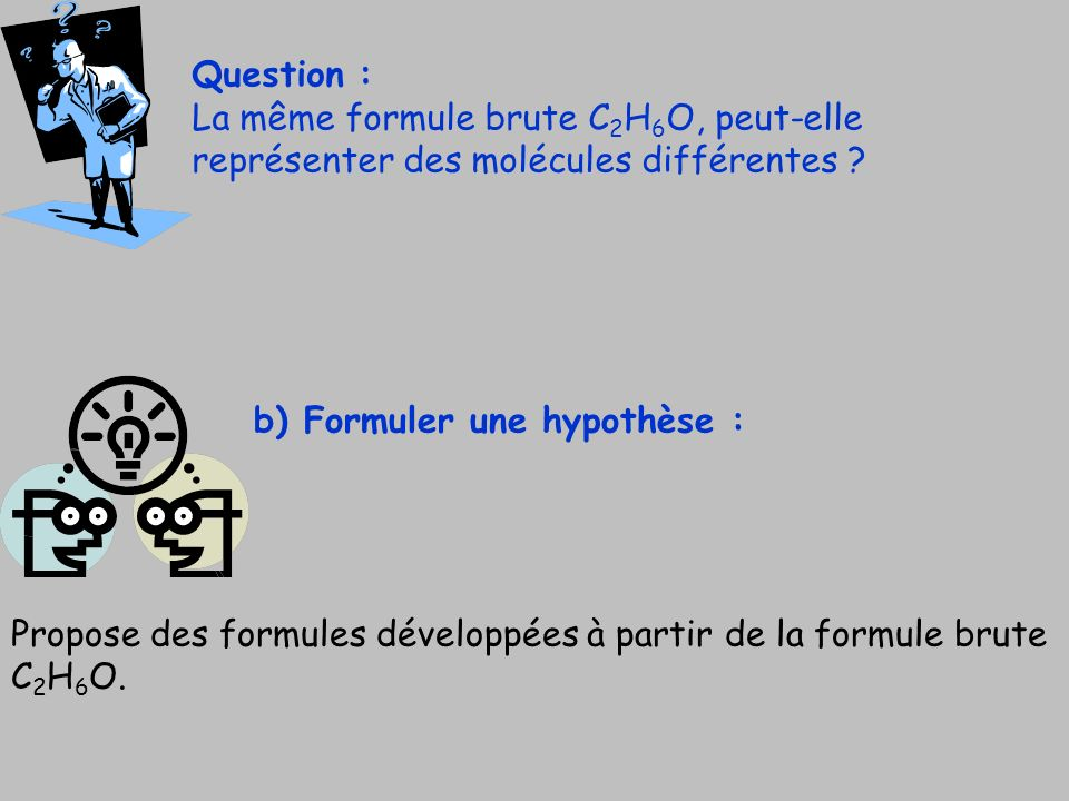 Question : La même formule brute C2H6O, peut-elle représenter des molécules différentes b) Formuler une hypothèse :