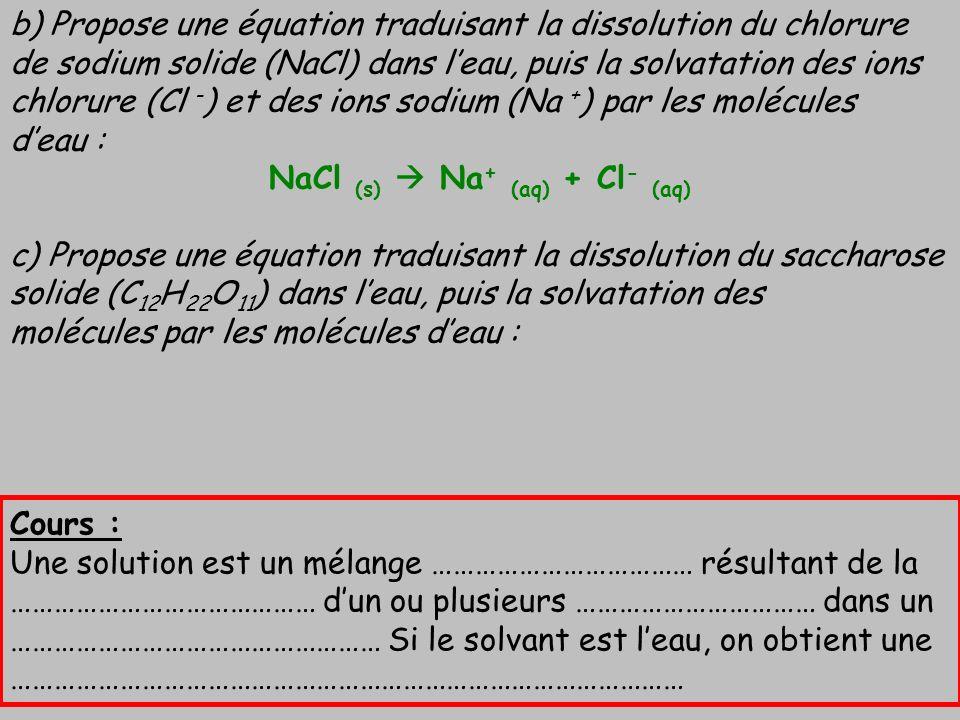 NaCl (s)  Na+ (aq) + Cl- (aq)